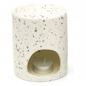 Terrazzo Ceramic Oil Burner With Tealight Candle Included - Tealight Candle Holder Essential Oil Fragrance Burner - White
