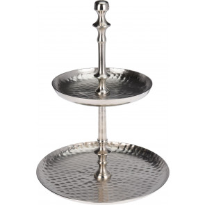 2 Tier Silver Metal Cupcake Holder Afternoon Tea Cake Scone Sweet Dessert Display Stand Platter - Small