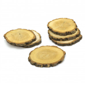 Set of 6 Natural Wood Tree Log Slices | Rustic Wedding Decorations Candle Stand | Drinks Coasters - Brown Bark