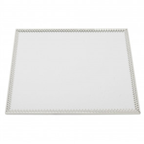 20cm Decorative Mirror Glass Display Plate | Silver Mirrored Candle Tray | Centerpiece Vanity Perfume Tray - Square