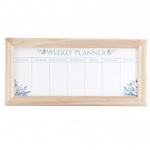 Olive Grove Wooden Frame Whiteboard Family Weekly Planner | Family Schedule Organiser Memo Board | Meal Planner And Shopping List - 67cm