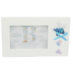 Freestanding New Baby Confetti Decorative Photo Picture Frame - Blue
