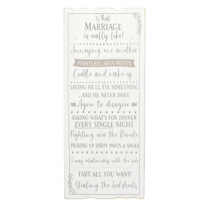 Mr & Mrs Wooden Plaque Sign Wall Art - 'What Marriage Is Really Like' Hanging Decoration