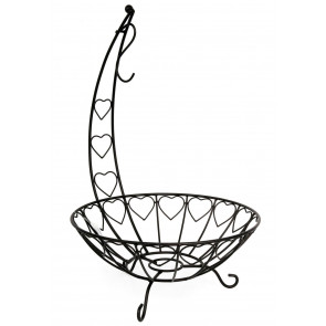 Black Metal Fruit Bowl With Banana Hanger