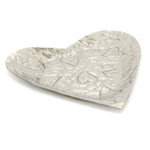 22cm Aluminium Embossed Decorative Heart Bowl Tealight Trinket Candle Tray Dish