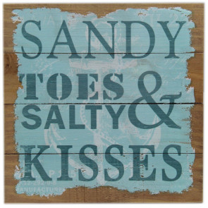 Shabby Chic Nautical Wooden Hanging Sign ~ Sandy Toes