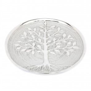 27cm Tree Of Life Decorative Hanging Plate Wall Plaque | Silver Ceramic Wall Mounted Family Tree Wall Art | Decorative Tree Ornament