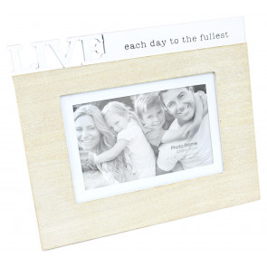 Shabby Chic Freestanding Wooden Quote Photo Frame 4 x 6 ~ Live