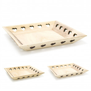 Shabby Chic Wooden Decorative Storage Display Tray - Square Trinket Tray Jewellery Dish - Design Varies ~ Natural Wood