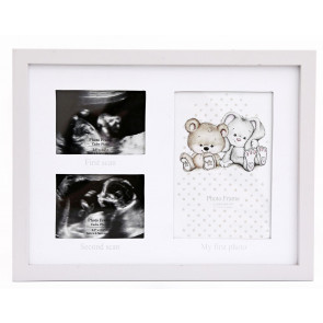Baby 3 Aperture Keepsake Photo Picture Frame ~ Double Ultrasound Scan And 1st Photo Frame