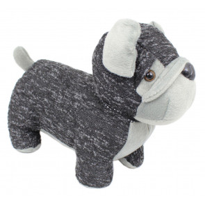 Black And Grey Woollen Dog Doorstop ~ Bull Dog Door Stop