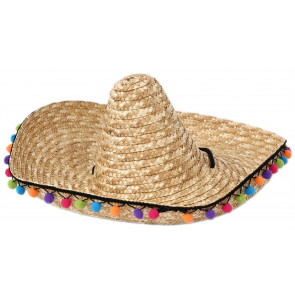 Mexican Fiesta Sombrero Hat With Pom Poms ~ Party Fancy Dress Costume Accessory