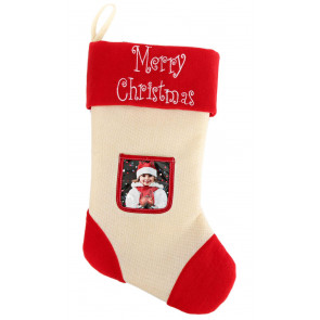 Merry Christmas Photo Frame Stocking Personalised Picture Xmas Eve Stocking
