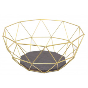 Gold Effect Geometric Metal Wire Kitchen Display Storage Basket - Fruit Bowl Vegetable Rack
