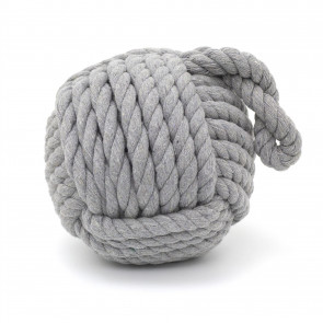 Grey Nautical Knot Rope Heavy Doorstop | Nautical Monkey's Fist Seaside Rope Door Stop | Beach Rope Knot Door Stopper Ball
