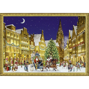 Deluxe Traditional Card Advent Calendar A4 - German Town at Christmas