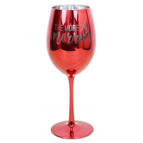 Mirrored Metallic Red Christmas Wine Glass In Gift Box ~ The More The Merrier