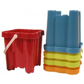 Beach Sand Toys 16Cm Neon Square Castle Bucket - Colour Vary