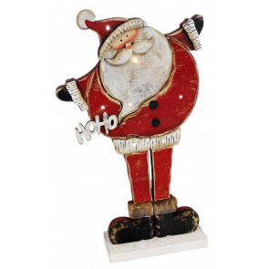 Merry Ho Ho Ho Light Up LED Wooden Santa Father Christmas Standing Decoration