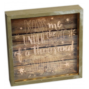 Wooden Box Frame Light Up LED Slogan Plaque Love Sign ~ Kiss Me Under The Light Of A Thousand Stars