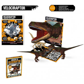 Jurassic 4D Wooden Dinosaur Puzzle With Augmented Reality App ~ Velociraptor