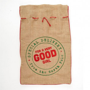 Jute Hessian Christmas Present Sack Gift Bag Large ~ Good Girl