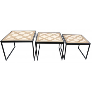 Set Of Three Geometric Pattern Side Tables
