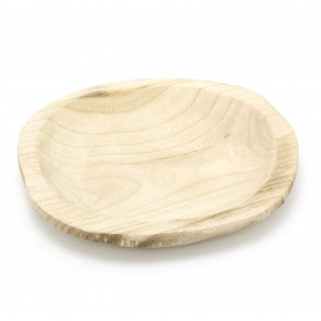 Natural Paulownia Wood Display Dish | Trinket Tray Jewellery Dish | Round Candle Tray - 25cm