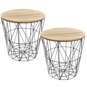 Pack of 2 Round Wooden Top Geometric Wire Occasional Side Table