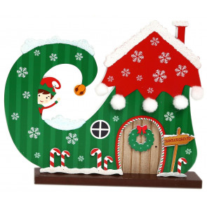 Christmas Elf Boot House Wooden Freestanding Xmas Decoration ~ Candy Canes