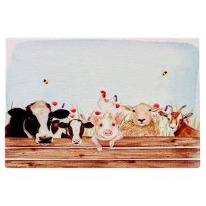 Ceramic Farming Life Animal Kitchen Dining Place Mat - Single Placemat - Countryside Dinner Table Protection Mat