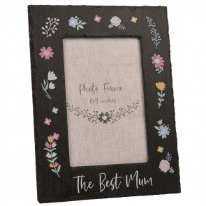 The Best Mum Slate Floral Photo Frame - Ideal Mothering Sunday Mother's Day Gift 6 x 4 Picture Frame
