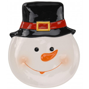 Ceramic Christmas Plate with Decorative Jolly Snowman Design