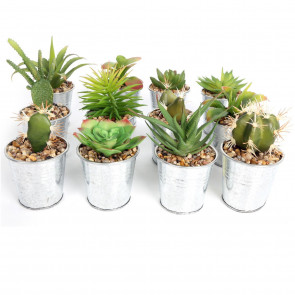 Artificial Mini Succulent Fake Cactus Plant With Metal Planter Tin Pot
