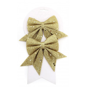 Pack of 2 Gold Glitter Present Bow Decorations - Christmas Tree Bows