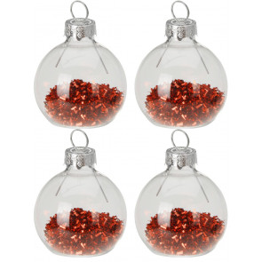 Set of 4 Glitter Bauble Christmas Wedding Dinner Table Name Place Card Holders - Red