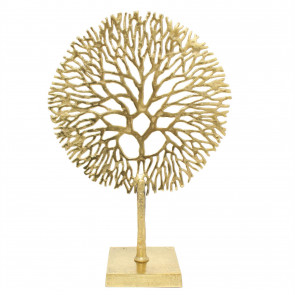 Gold Coral Sculpture Decorative Ornament on Metal Stand Tree Of Life Jewellery Stand - Golden Metal Coral Ornament On Aluminium Base