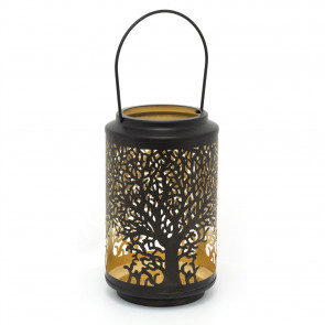 25cm Black Metal Tree Of Life Cut Out Cylinder Lantern | Decorative Candle Holders For Home Garden Patio | Hurricane Lantern