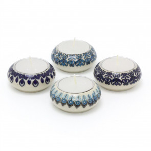 Set Of 4 Peacock Tealight Candle Holder | Ceramic Tea Light Candle Pot | Moroccan Tealight Candle