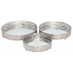 Set of 3 Silver Metal Mirror Candle Plate Decorative Tray ~ Centerpiece, Perfume tray