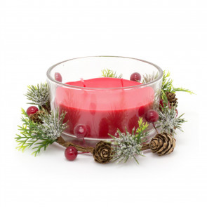 Christmas Wreath Candle Pot Decoration | Traditional Xmas Candle Ornament Table Centrepiece | Red Wax