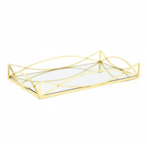 Art Deco Gold Mirrored Display Tray | Perfume Jewellery Cosmetic Organiser | Decorative Metal Double Vanity Dish 35cm