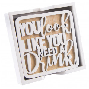 Premium Kitchen Heart Of The Home White Natural Wood Set Of 4 Drink Coasters