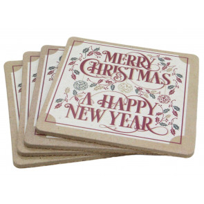 Set Of 4 Traditional Christmas Design Wipe Clean Table Coasters - Cream