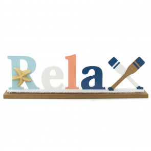 Wooden Letter Ornament | 32cm Nautical Free Standing Wooden Sign | Nautical Decoration, Home Decoration - Relax