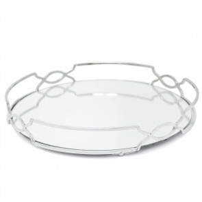 Art Deco Silver Mirrored Tray | 30cm Decorative Candle Tray Holder - Perfume Display Organiser, Table Centrepiece Decorative Tray
