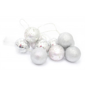 10 Piece LED Silver Bauble Ball Garland Festoon Light String Chain ~ Hanging Ornament Decoration