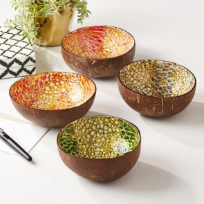 Decorative Gilded Lacquered Coconut And Shell Bowl ~ Colour Vary
