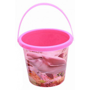 Dolphin Print Plastic Garden Sandpit Toy Beach Bucket For Children