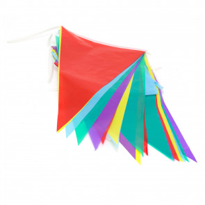 10 Meter Pennant Rainbow Party Bunting | 20 Flag Banner 5 Colour Festival Decorations | Indoor Outdoor Multi Coloured Triangle Bunting